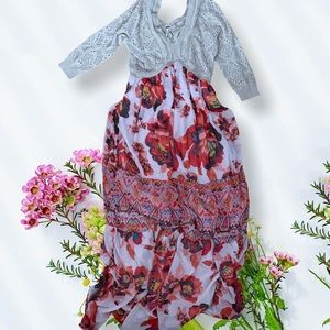 Free people maxi dress ethnic rose floral